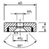 Lapos pot mágnes furattal és 90° süllyesztéssel, NdFeB, economy